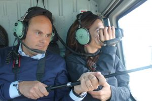Monique Soltani Helicopter ride with Ferrari Winery CEO